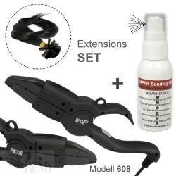 Wärmezange Hair Connector + SUPER Bondinglöser 50ml für Keratin-Extensions im Set: Bonding-Extensions Anbringen + Entfernen