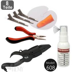 Haarverlängerungs Set 8 Teile SUPER Bondinglöser Wärmezange Bondingzange Zubehör Bonding Extensions