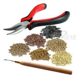 Microring Set 100x Microring Haarverlängerung 0,5g + Microringnadel + Bondingzange