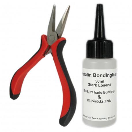 Haarverlängerungs-Set Bondinglöser 50ml + Bondingzange verschiedene Modelle