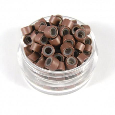 Microringe mit Silikon Braun für 0.5g Strähnen