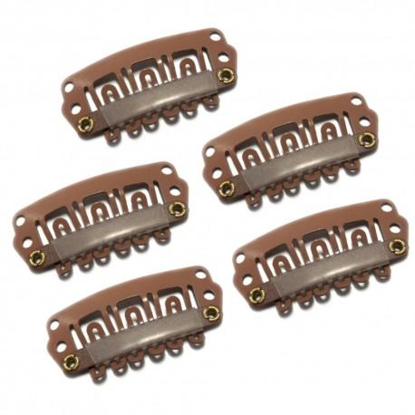 Tressenclips für Haarverlängerung 6 Zähne Braun