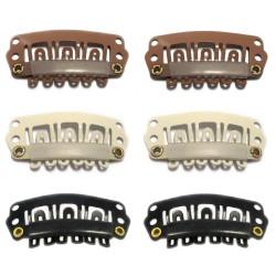 Tressenclips für Clip In Extensions Gr. M 2,8cm Haarverlängerung 6 Zähne
