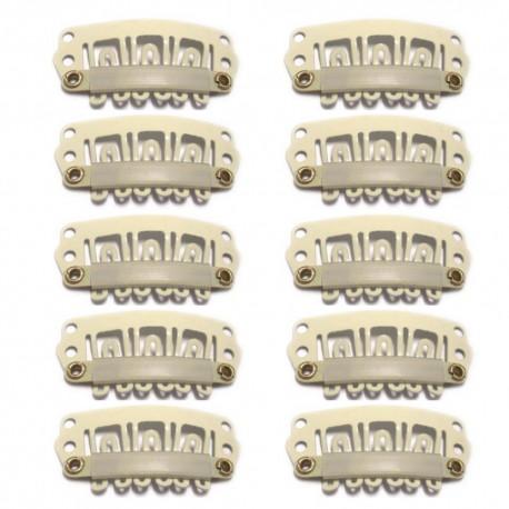 10 Tressenclips für Haarverlängerung 6 Zähne Blond