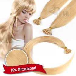 45cm,60cm Glatt 60 Strähnen I-Tip 0,5g Bondings Echthaar Microring Extensions