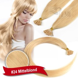 45cm,60cm Glatt 140 Strähnen I-Tip 0,5g Bondings Echthaar Microring Extensions