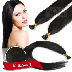 45cm,60cm Glatt 140 Strähnen I-Tip 1g Bondings Echthaar Microring Extensions